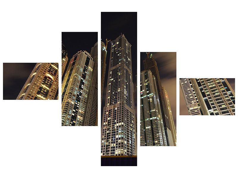 Metallic-Bild 5-teilig modern Wolkenkratzer Dubai Marina
