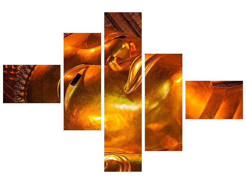 Metallic-Bild 5-teilig modern Liegender Buddha