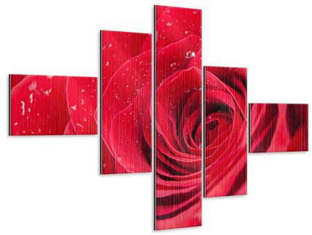 Metallic-Bild 5-teilig modern Rote Rose im Morgentau