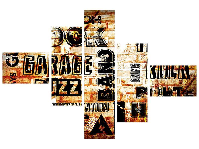 Metallic-Bild 5-teilig modern Rock im Grungestil