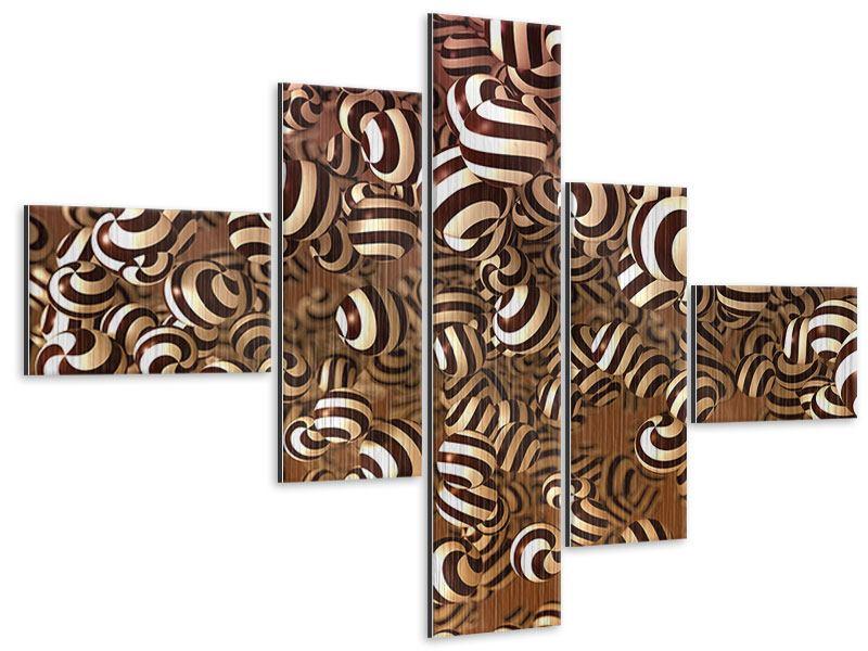 Metallic-Bild 5-teilig modern Schokoladen-Bonbons