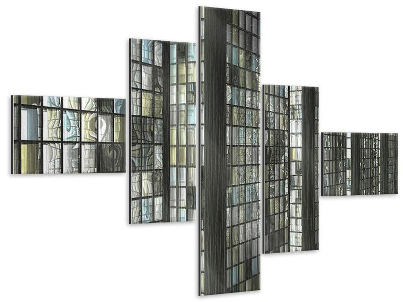 Metallic-Bild 5-teilig modern Windows