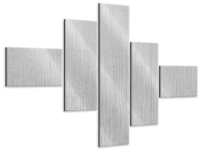 Metallic-Bild 5-teilig modern Beton in Hellgrau