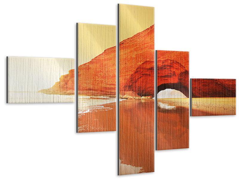 Metallic-Bild 5-teilig modern Wasserspiegelung