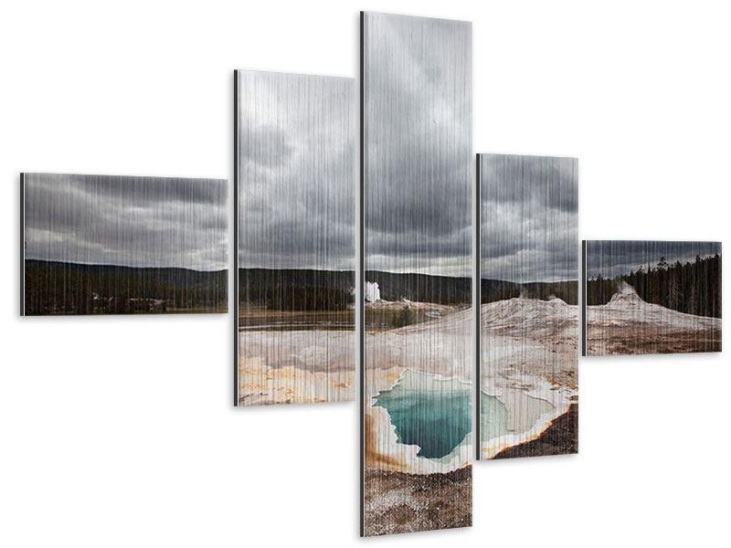 Metallic-Bild 5-teilig modern Vulkan