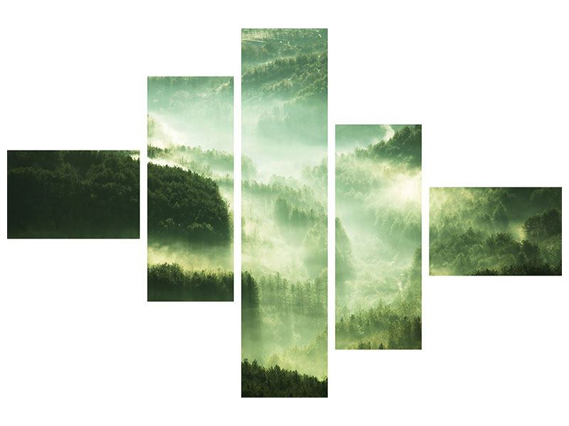 Metallic-Bild 5-teilig modern Über den Wäldern