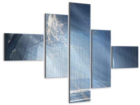 Metallic-Bild 5-teilig modern Lichtdurchflutete Baumallee