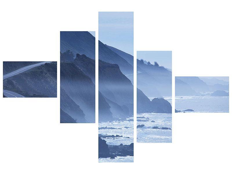 Metallic-Bild 5-teilig modern Bewegung im Wasser