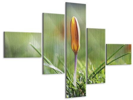 Metallic-Bild 5-teilig modern Die Blütenknospe