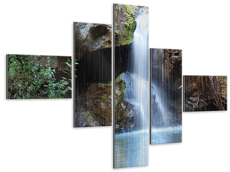 Metallic-Bild 5-teilig modern Die blaue Lagune