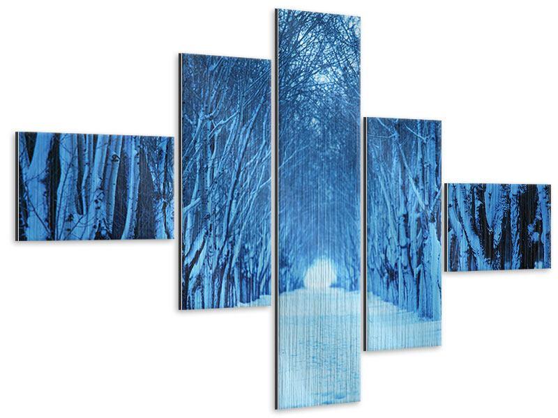 Metallic-Bild 5-teilig modern Winterbäume