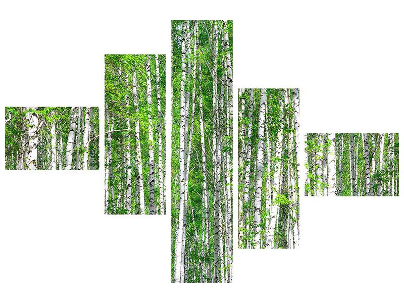 Metallic-Bild 5-teilig modern Der Birkenwald