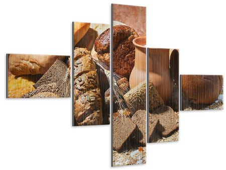 Metallic-Bild 5-teilig modern Frühstücksbrote