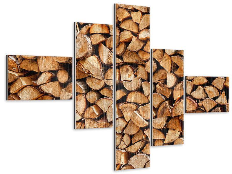 Metallic-Bild 5-teilig modern Gestapeltes Holz