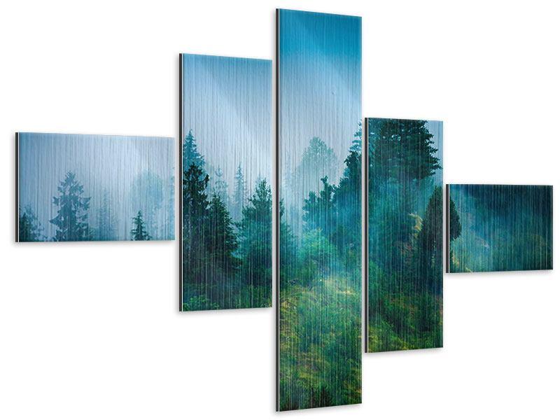 Metallic-Bild 5-teilig modern Geheimnisvoller Wald