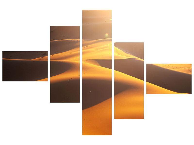 Metallic-Bild 5-teilig modern Wüstenwanderung