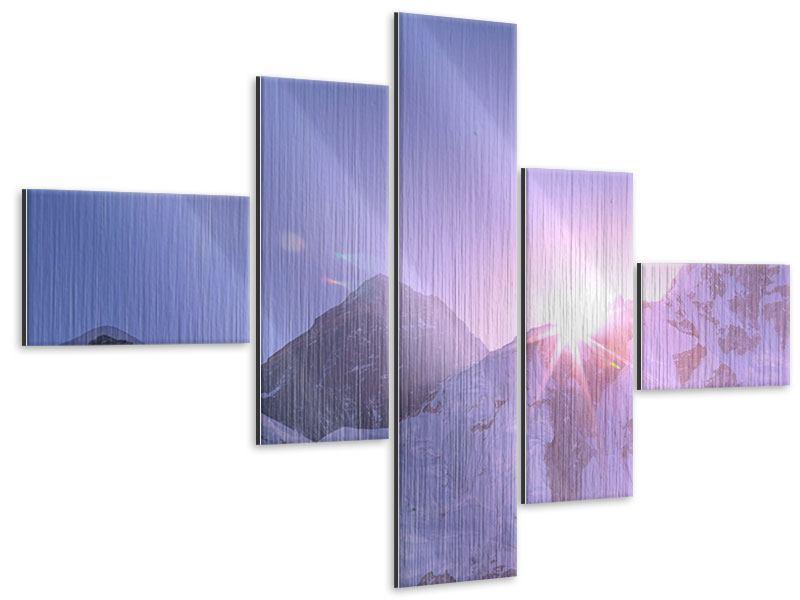 Metallic-Bild 5-teilig modern Sonnenaufgang beim Mount Everest