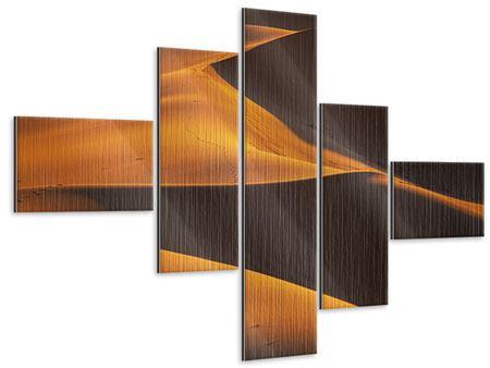 Metallic-Bild 5-teilig modern Wüstensand