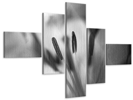 Metallic-Bild 5-teilig modern Makro Lilienblatt