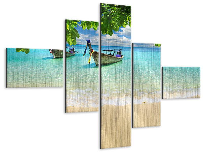 Metallic-Bild 5-teilig modern Ein Blick auf das Meer