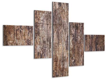 Metallic-Bild 5-teilig modern Retro-Holz