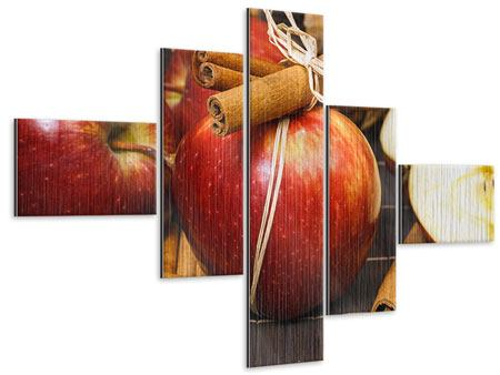 Metallic-Bild 5-teilig modern Äpfel