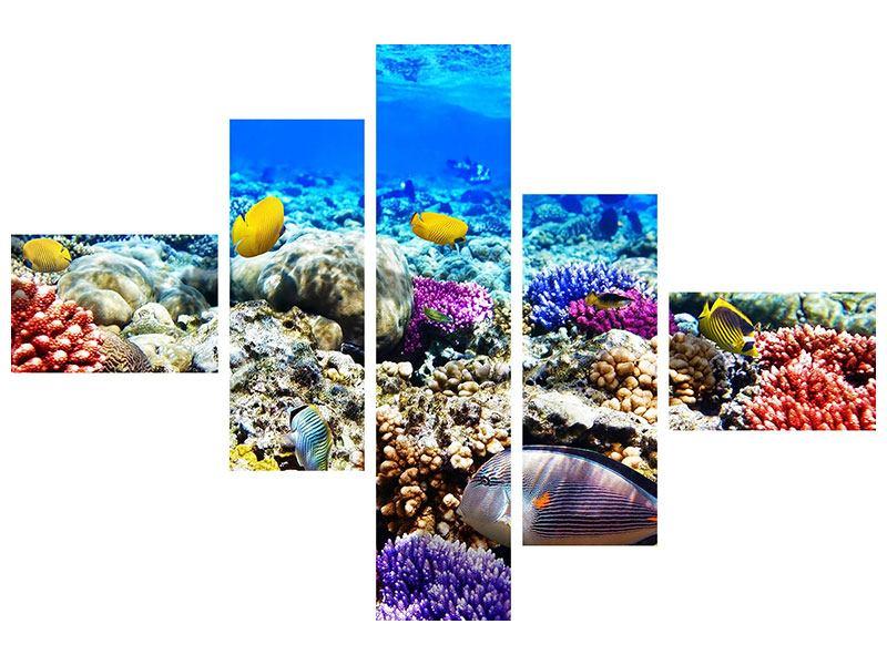 Metallic-Bild 5-teilig modern Fischaquarium
