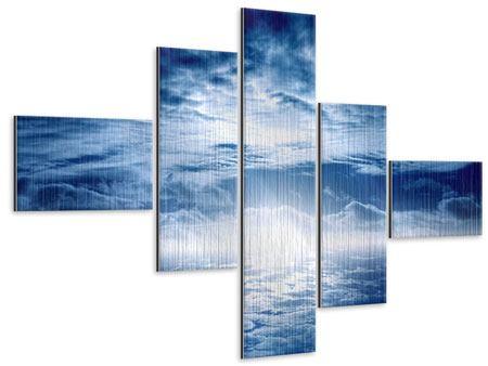 Metallic-Bild 5-teilig modern Mystischer Himmel