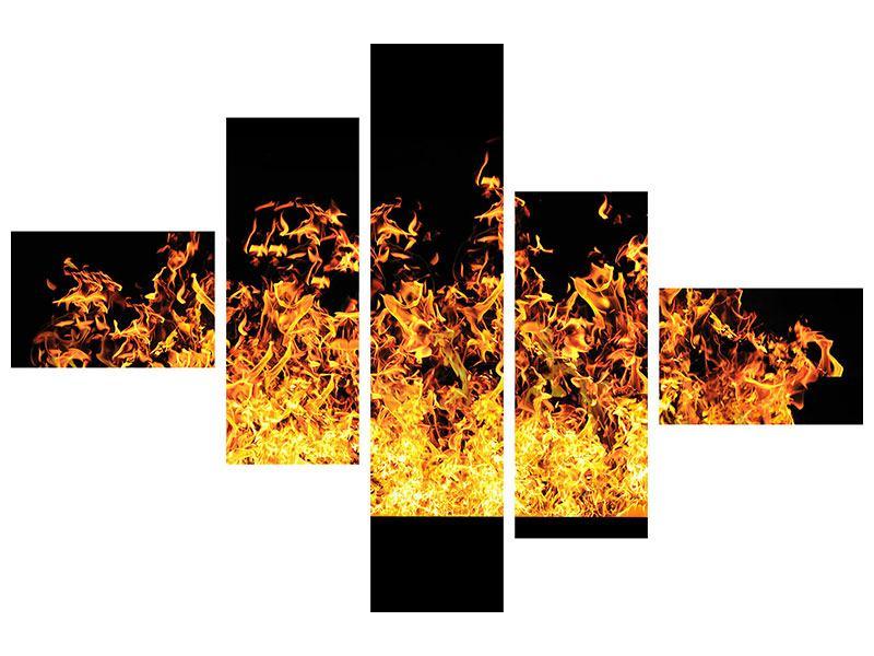 Metallic-Bild 5-teilig modern Moderne Feuerwand