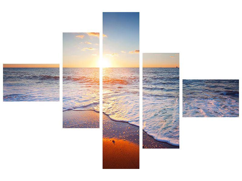 Metallic-Bild 5-teilig modern Sonnenuntergang am Horizont