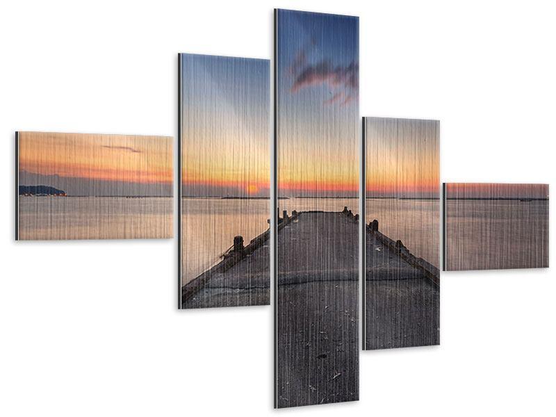 Metallic-Bild 5-teilig modern Der Steg