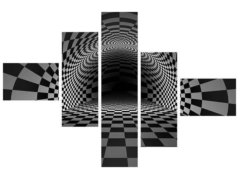 Metallic-Bild 5-teilig modern Abstraktes Schachbrett