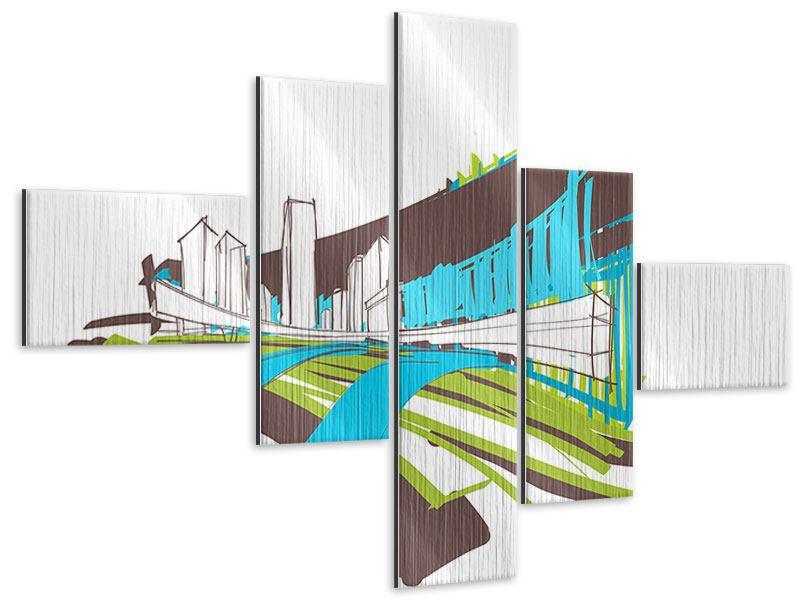 Metallic-Bild 5-teilig modern Graffiti Street-Art