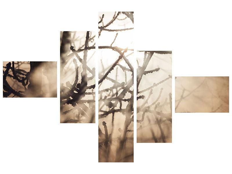 Metallic-Bild 5-teilig modern Äste im Schleierlicht