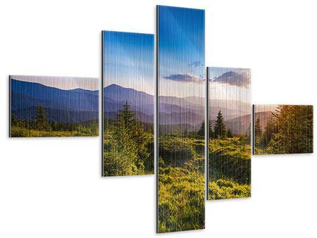 Metallic-Bild 5-teilig modern Friedliche Landschaft