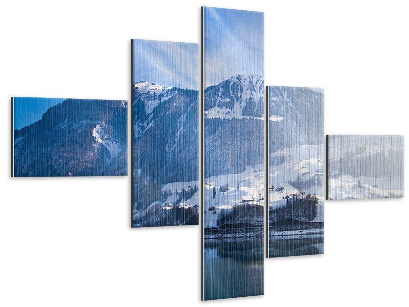 Metallic-Bild 5-teilig modern Winterwunderland