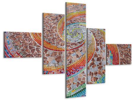 Metallic-Bild 5-teilig modern Mosaik