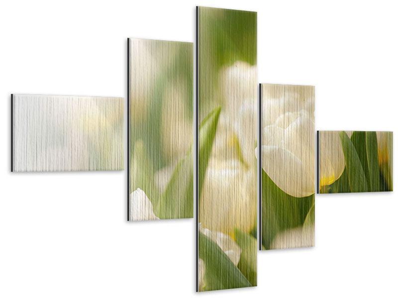 Metallic-Bild 5-teilig modern Tulpenperspektive