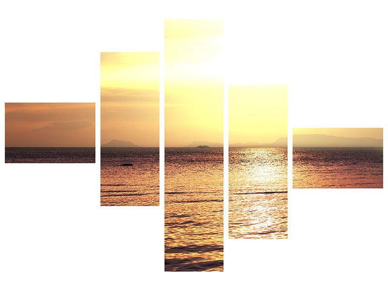 Metallic-Bild 5-teilig modern Sonnenuntergang an der See