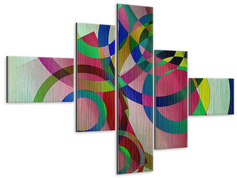 Metallic-Bild 5-teilig modern Wandkunst