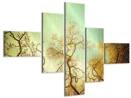 Metallic-Bild 5-teilig modern Bäume im Herbst