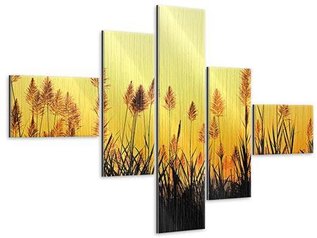 Metallic-Bild 5-teilig modern Die Blumen des Feldes