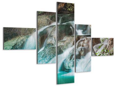 Metallic-Bild 5-teilig modern Am Fluss des Lebens