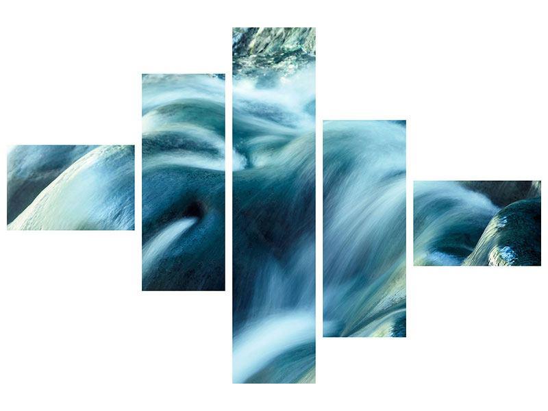 Metallic-Bild 5-teilig modern Das Fliessende Wasser