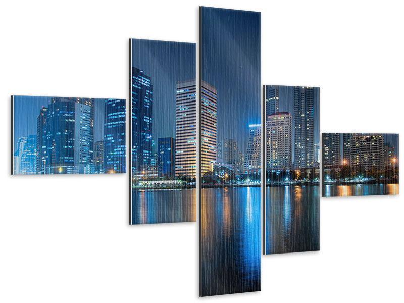 Metallic-Bild 5-teilig modern Skyline Bangkok bei Nacht