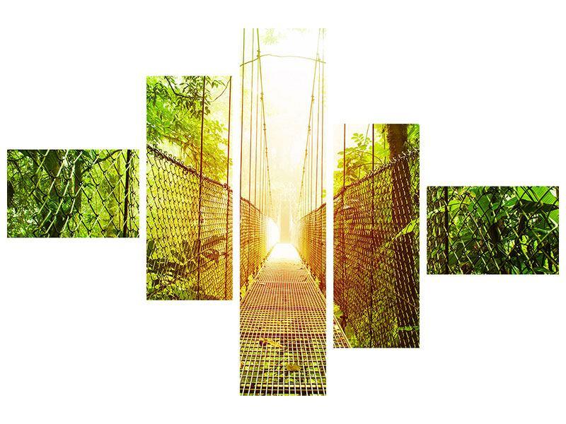 Metallic-Bild 5-teilig modern Hängebrücke