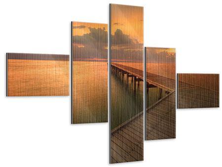 Metallic-Bild 5-teilig modern Der Steg am Meer