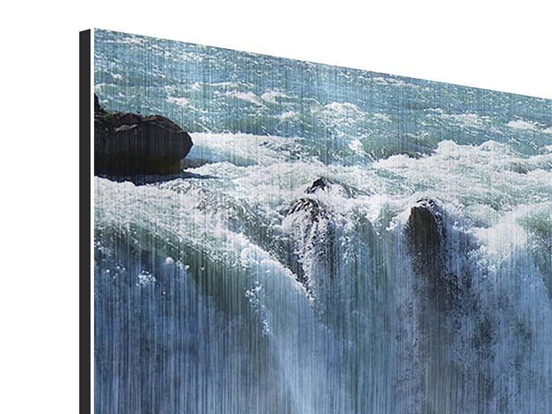 Metallic-Bild 5-teilig modern Mächtiger Wasserfall