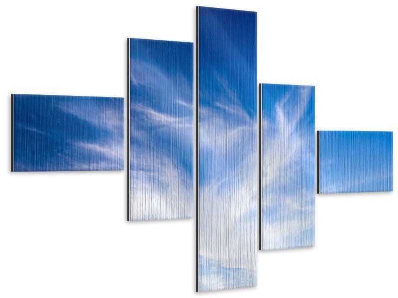 Metallic-Bild 5-teilig modern Schleierwolken