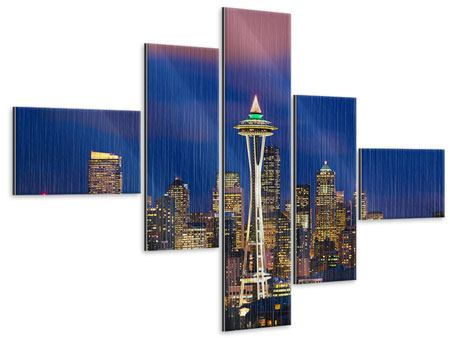 Metallic-Bild 5-teilig modern Skyline Seattle